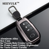 1pc SEEYULE Aluminum Alloy Deluxe Car Key Case Shell Cover Storage Bag Protector for Toyota Reiz Corolla Camry Crown Highlander