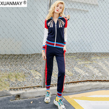 XUANMAY Autumn zipper sweater Trousers up down Two-piece Sweet Maiden long-sleeved