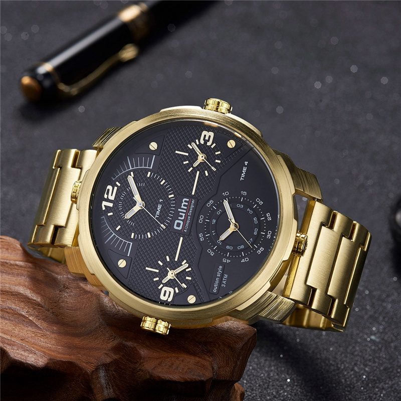 Oulm Golden 4 Time Zone Luxury Watches Men Big Size Stainless Steel Waterproof Military Watch Male Large Dial Sport Wrist Watch стоимость