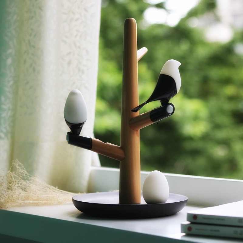 Smart Bird Design LED Infrared & Touch Sensitive USB Rechargeable Night Light White & Black & Wood Color