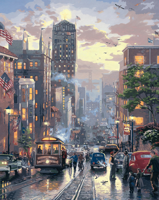 Aliexpress.com: Acheter New york rue Dessin paysage USA Peinture ...