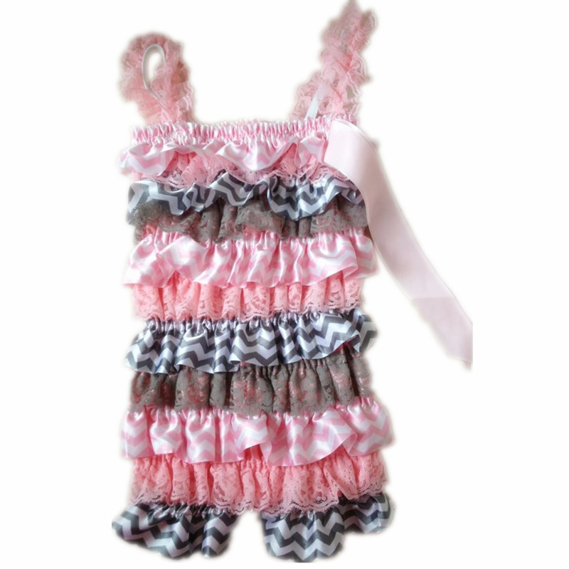 2acd63893bcf Cute Baby Petti Lace Romper Hot Pink Lace Leopard Satin Newborn Infant  Jumpsuit Children Clothes Ruffle Romper-in Rompers from Mother   Kids on ...