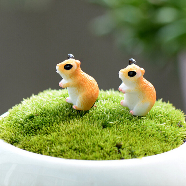 2pc Hamster Figurine Miniature Decoration for mini fairy garden animal statue Similation resin craft Home Car Decoration 2