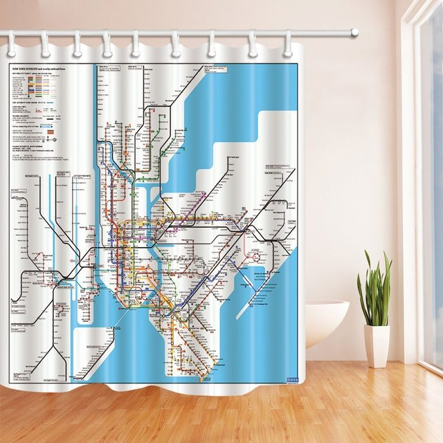 3D Digital Printing Map Decor New York City Subway Shower Curtain Waterproof Fabric Bathroom Decorations Bath Curtains