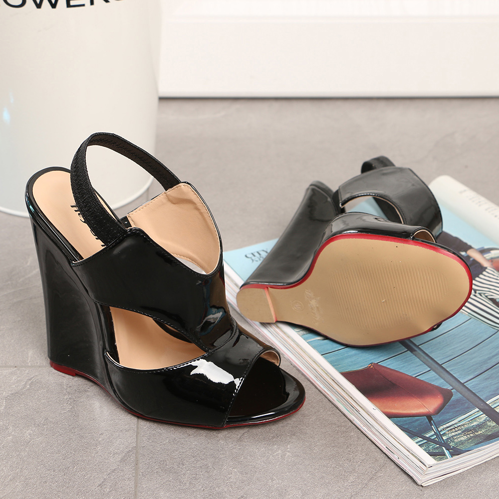 Cosplay Concise Black Femme Femmes Peep Élastique Bande Timetang Toe 46 Big 40 Chaussures Cd Taille Travesti Plus Haut Talon Coince xHvwFEw