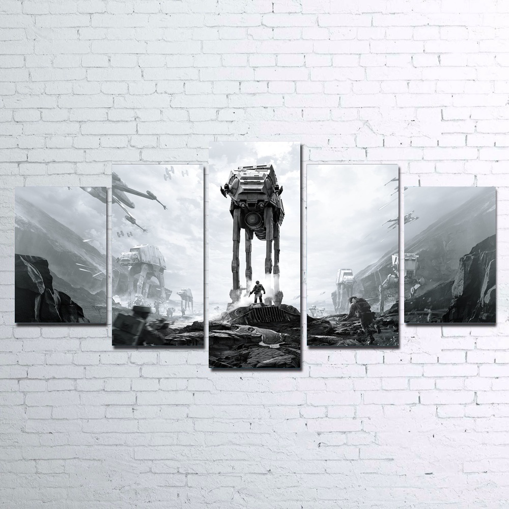 Home Decor HD Print Paintings 5 Pcs Star Wars Battlefront Picture Wall Art Modular Canvas Movie Poster Modern Bedside Background image
