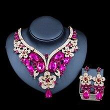 Lan дворец свадьба ювелирные наборы Горный Хрусталь для новобрачных золотой цвет ожерелье и серьги шесть цветов бесплатная доставка