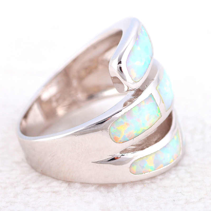 ROLILASON Luxury Rings for Women Stylish White Fire Opal 925 Silver Prom Fashion Jewelry Rings USA Size #6#7#8#9#10 OR870