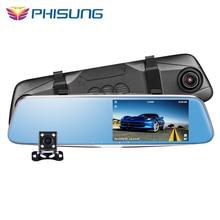 Phisung T28 ночного видения двойной Камера зеркало заднего вида камера HD 1296 P ADAS видеорегистратор G-Сенсор парковка Мониторы Камара automovil