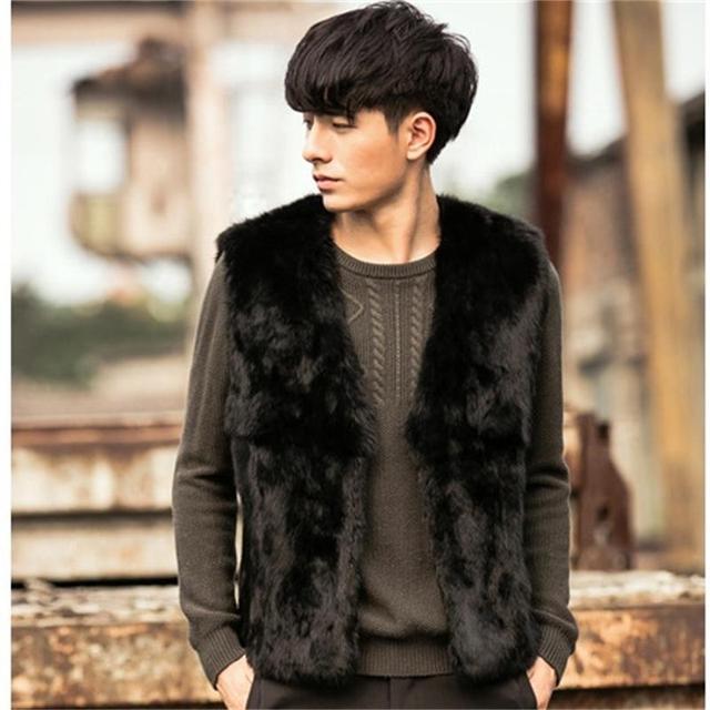 38977b27e68 Best Selling!2018 New Winter Men Faux Rabbit Fur Vests Thick Warm Coats  Black Fashion Leisure Youth Fur Waistcoat Plus Size