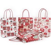 12PCS Creative Christmas Kraft Paper Bag Shopping Exquisite Tote Garment Bag Cartoon Portable Holiday Gift Bag81025