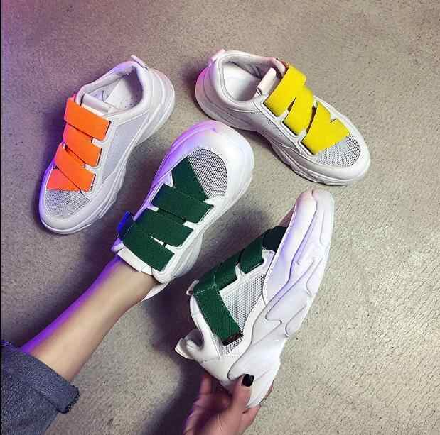 2019 New Loop Thick-soled Muffin Fashion Women Sports Shoes White Shoes Platform Sneakers Women Shoes Moccasins Mujer Footwear