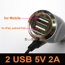 Micro USB 5V 2A Car Charger Adapter with 2 USB Port