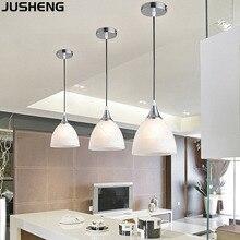 JUSHENG современное светодиодное стекло декоративная люстра гостиная, спальня потолочная лампа для ресторана столовая лампы E27