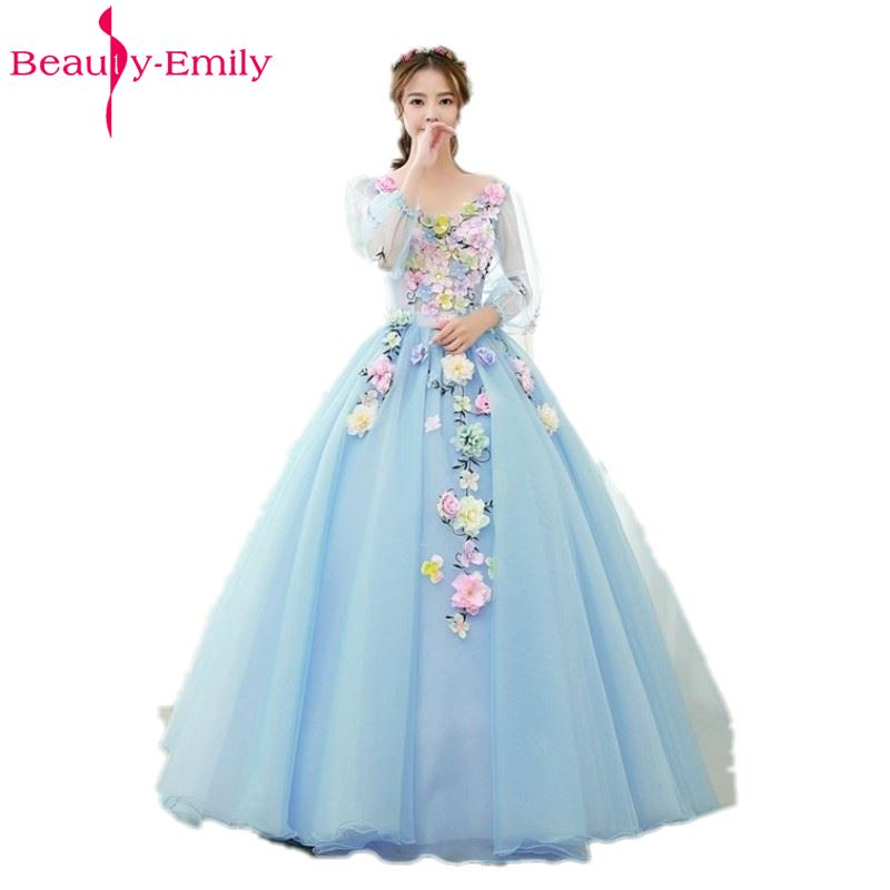 Beauty Emily Light Blue Long Ball Gown Quinceanera Dresses 2019 Princess Girl V-Neck Short Sleeve Lace Up Party Gowns
