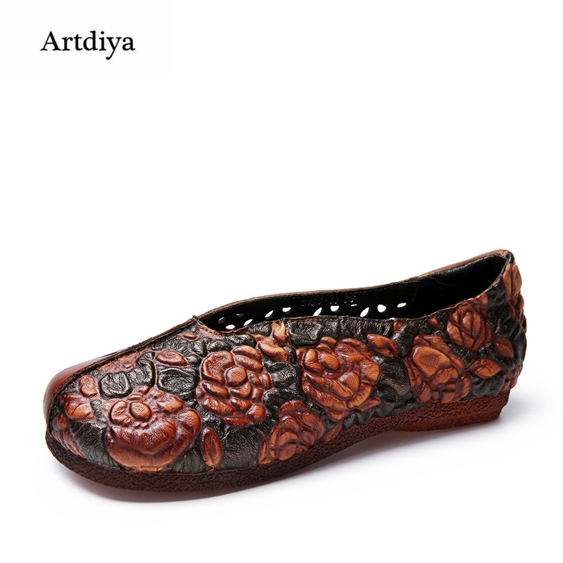 Artdiya Spring 2018 New Women Shoes Genuine Leather Hollow Flat Soft Handmade Shoes Comfortable Folk Style Shoes 3199-18 1 pair fist walkers toddler shoes lovely new soft comfortable nice shoes for baby girls boy nice genuine leather spring red