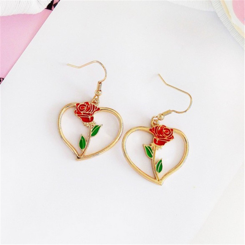 Fashion simple red roses dangle earrings Retro metal heart pendant earrings rose fine jewelry accessories earrings for women