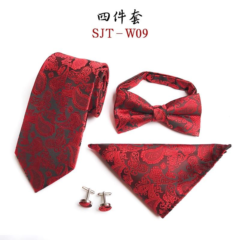 2017 mens fashion tie set polyester silk neckties pocket square ties for men tie handkerchief bow tie cufflinks four sets