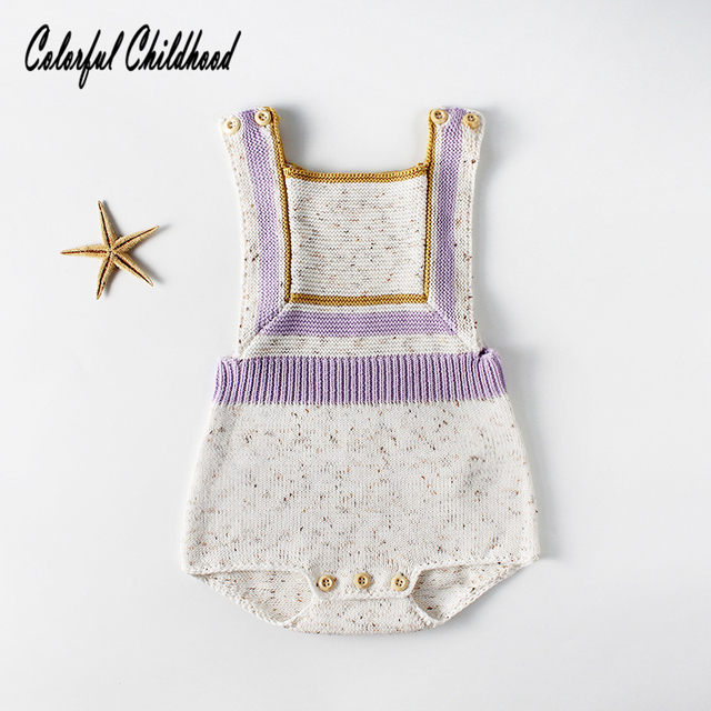 1b0237994b8 Vintage baby boy girls romper clothes Autumn winter cotton knitted strap jumpsuit  kids overalls newborn body pajamas 0-24m