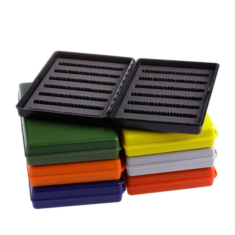 Slim fly fishing box slit foam insert plastic hook storage for Fly fishing box