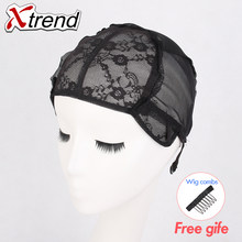 Xtrend 1pcs Hot Selling Rose Stretchable Black Lace Wig Caps Double Layer Elastic Net Adjustable Cap for making wigs wholesale(China)