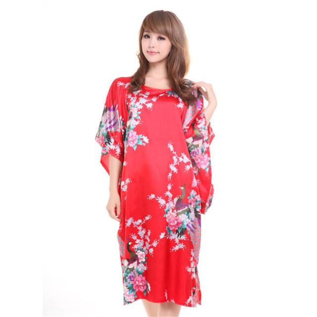 Hot Sale Red Chinese Style Silk Robe Dress Women Summer New Bathrobe Gown Vintage Yukata Kaftan Print Sleepwear Plus Size T012