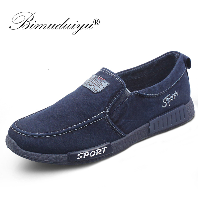 BIMUDUIYU Slip Op Canvas Mannen Schoenen Denim Casual Schoenen Gymschoenen Ademend Mannelijke Schoenen Mode Sneakers Ademende Schoenen Loafe