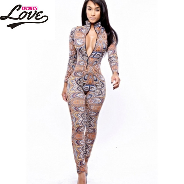 sexy jumpsuit women macacao feminine 2017 clubwear bodycon rompers womens jumpsuit long pants The Thai Tribal Jumpsuit LC6747