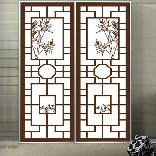 Privacy stickers on the window custom made chinese style sliding door stickers imitation wood decorative