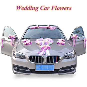 Wedding Car Artificial Flower Supplies Romantic Car Decor Fake PE Rose Ribbon Kit Party valentines day Decorations Accessories