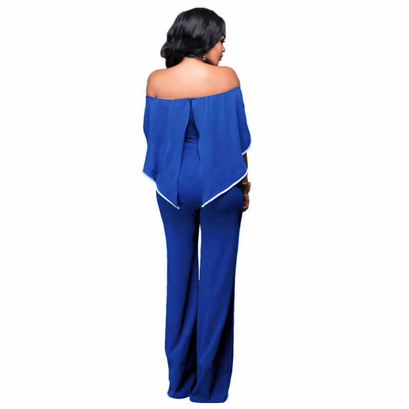 Mono sexy de cintura alta con volantes negros para verano 2017 mono de una pieza para mujer niña azul con hombros descubiertos mono largo BN783