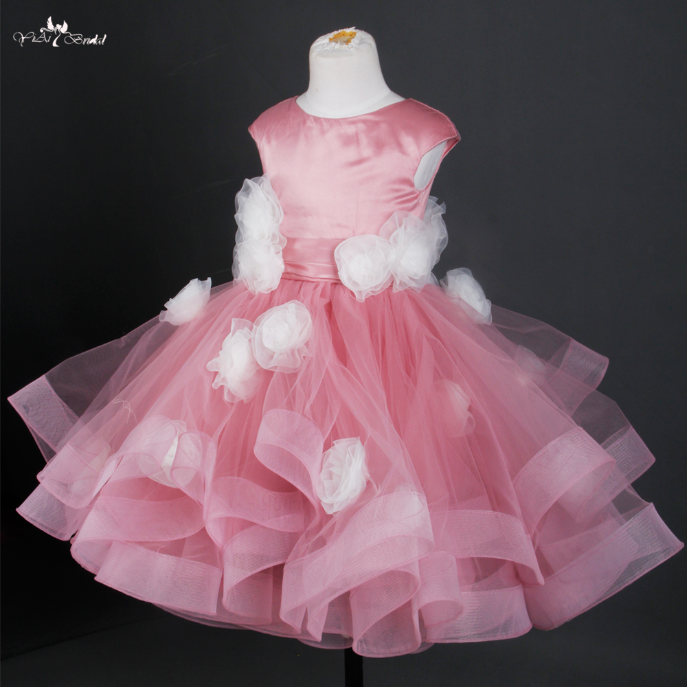 FG20 Dusty Rose Vestido De Daminha Pageant Dresses For Girls Glitz Spring Pretty Flower Girl Dresses For Weddings