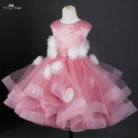 FG20 Dusty Rose Vestido De Daminha Pageant Jurken Voor Meisjes Glitz Lente Mooie Bloem Meisje Jurken Voor Bruiloften