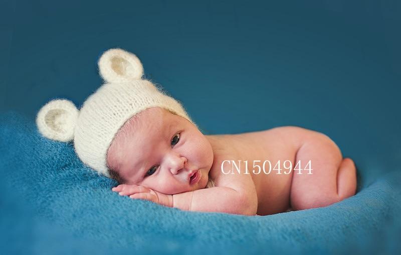 Artesanato de crochê Mohair fofo ursinho de pelúcia Capô, chapéu, Beanie. fotografia prop. Recém-nascidos, Fotografia bebê Adereços