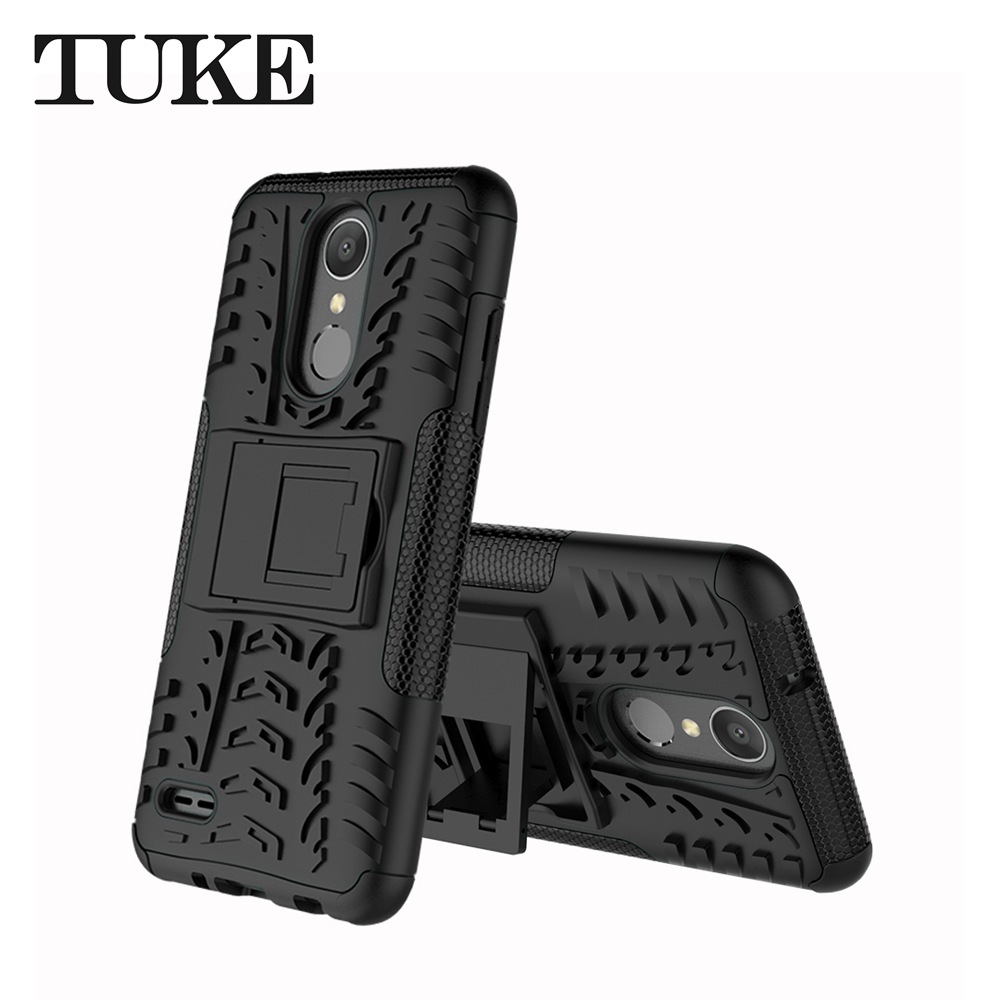 Dual Layer Tire Pattern Armor Case Stand Cover For Lg Aristo 2 Plus 2in1 Brushed Hybrid Soft K8 Hardcase Anti Shock