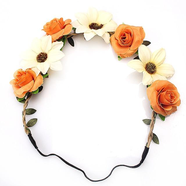 Flowers Bohemian Style Elastic Crown Hairband
