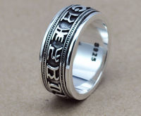 925 sterling silber schmuck vintage thai silber ring Budda religiöse st. mantra vajra ring (HY)