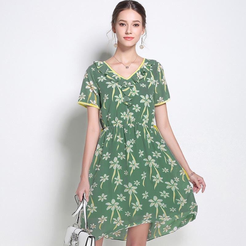 2018 Summer Chiffon Dresses Party Dress Elegant Maternity Dress Loose Pregnancy Clothes Plus Size M-5XL Print Bow Europe Style