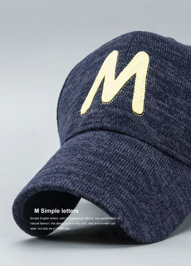 d145d551 2016 Autumn Winter Baseball Cap For Men Letter M embroidery 3 Colors ...