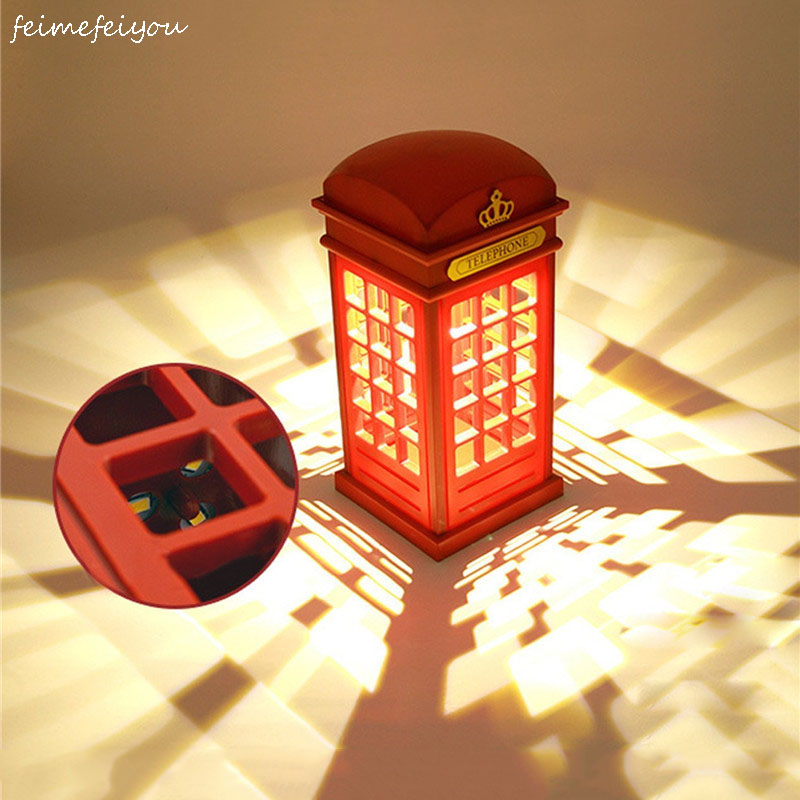 Vintage London Telephone Booth Design USB Charging LED Table Lamp Rechargeable LED Table Lamp, Night Light Touch Sensor For Home