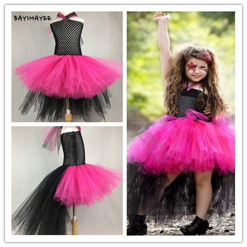 274aad0628 Cool Girls Rocker Queen Tutu Dress Baby Fluffy Crochet Tulle Dress Kids  Cosplay Costume Children Birthday Party Trailing Dresses
