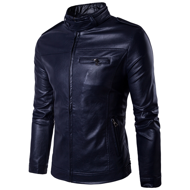New Age Season Trend Han Edition Pure Color Leather Joker Mens Leather Jackets