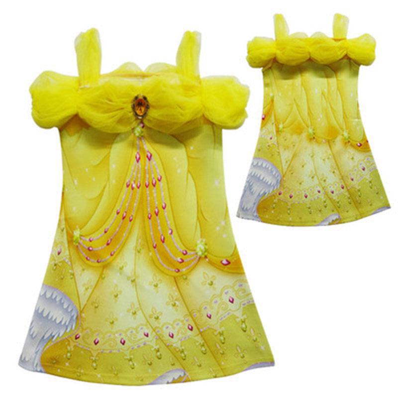 2018 Brand Kids Girls Christmas Costumes Long Dresses Beauty and The Beast Cosplay Clothing Children Princess Elsa Belle Dress nnw beauty and the beast belle cosplay princess fancy kids costumes grils yellow dresses with sleeve hight quality