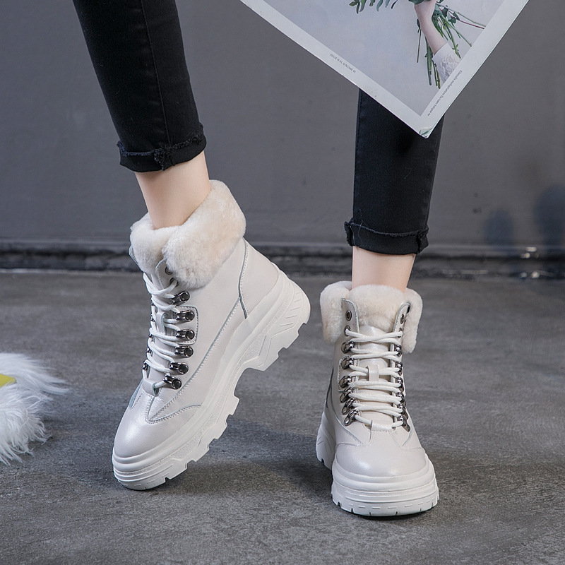 Stiefeletten Casual Mode Botas Metall Kurze Herbst Winter Mujer Nieten Stephoes schwarzes Frauen Stiefel Beige Echtem Dekoration Leder Aus OE5Sfxq