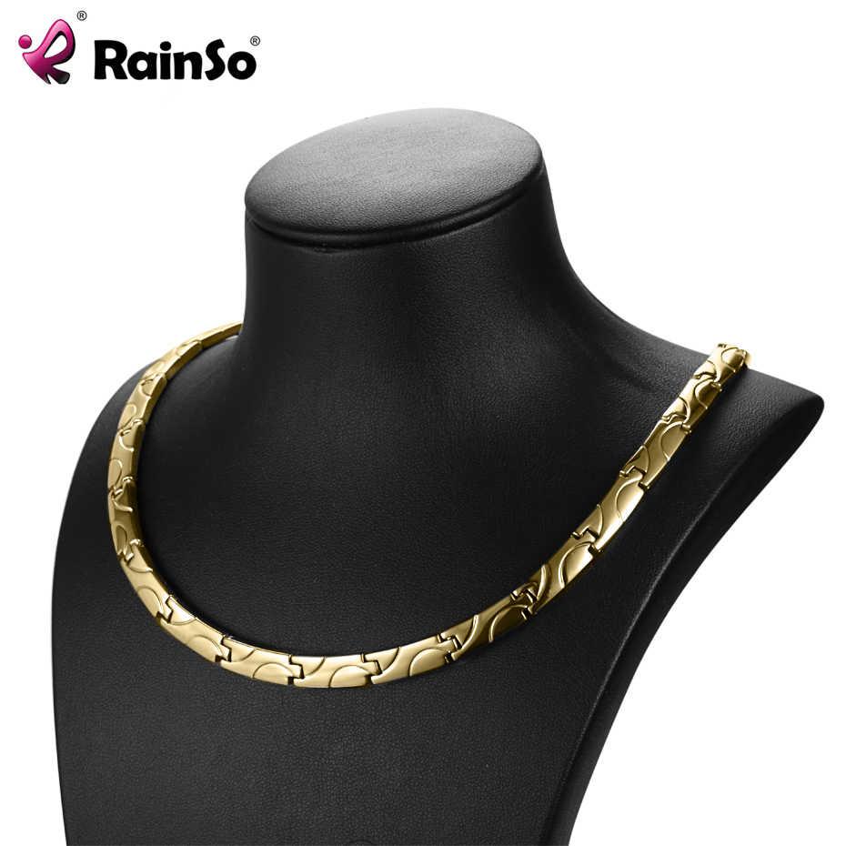 RainSo สร้อยคอแม่เหล็กสุขภาพสำหรับโรคข้ออักเสบ Bio Energy Healing ไทเทเนียมสร้อยคอสร้อยคอ Link Chain