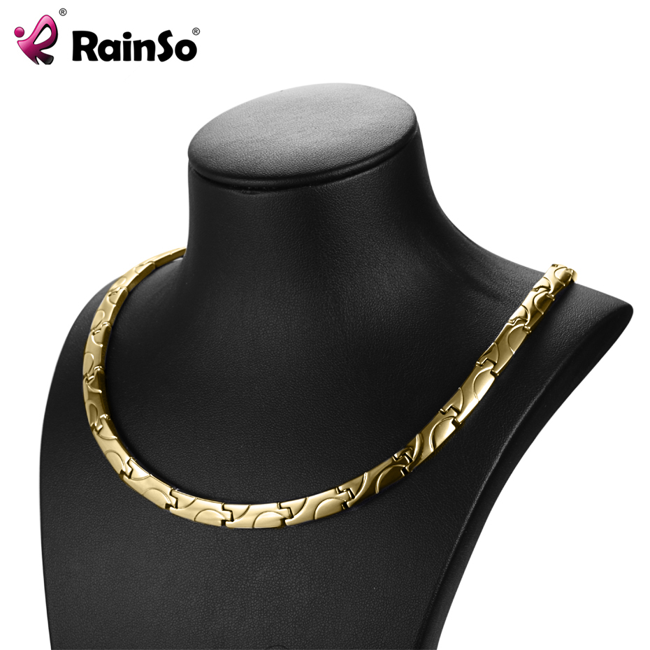 купить RainSo Magnetic Necklaces Health Benefits for arthritis Bio Energy Healing Titanium Power Necklace for Women Link Chain Necklace по цене 1487.4 рублей