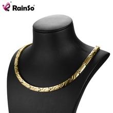 Rainso magnético colares saúde para artrite bio energia cura titânio power necklace para mulher link chain colar 2020