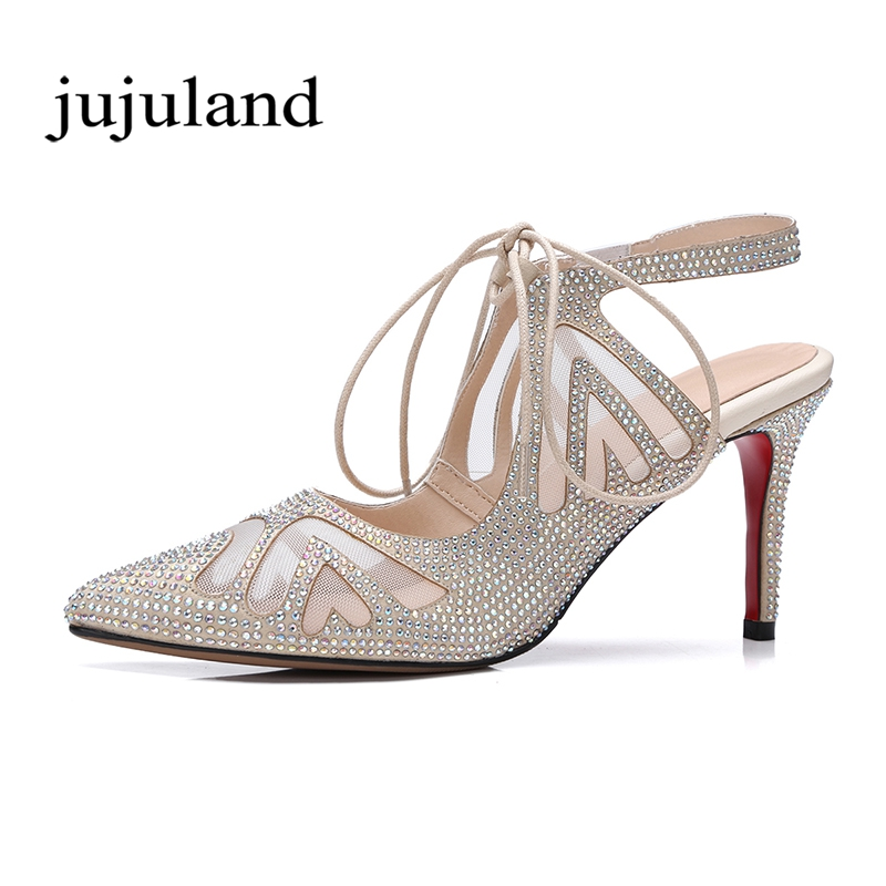 Summer Women Shoes Sandals Genuine Leather Fashion Casual Lace-Up Thin High Heels Platform Cover Heel Solid Crystal Transparent women high heel shoes women slingbacks sandals genuine leather solid color black white summer fashion casual shoes round toe