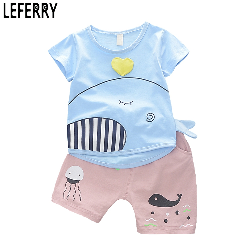 New Fashion Baby Boys Clothing Set Cartoon Short Sleeve T Shirt + Shorts Cotton Kids Clothes Summer Set Baby Boy Outfits summer baby boys clothing set cotton animal print t shirt striped shorts sports suit children girls cartoon clothes kids outfit