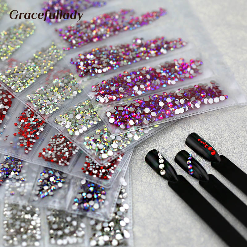 Multi-size 1680pcs Glass Nail Rhinestones For Nails Art Decorations Crystals Strass Charms Partition Mixed Size Rhinestone Set
